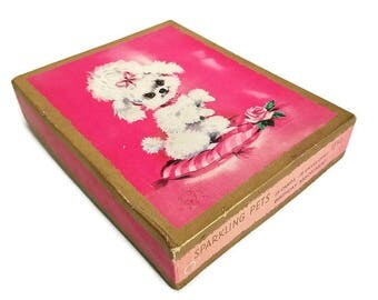 Vintage Birthday Cards Boxed Unused Poodle Puppy Baby Animals Set of 14 Sparkling Pets