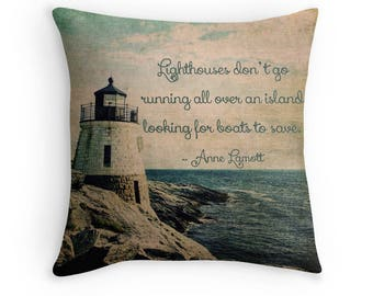 Anne Lamott Typography, Lighthouse Pillow Cover, Nautical, Cabin Decor, Beach House, Summer Fun, Ocean, Rhode Island, New England, Coast