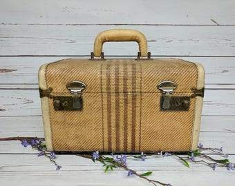 Vintage Tweed Striped Train Case - Leather Handle and Trim - Hard Shell Small Suitcase