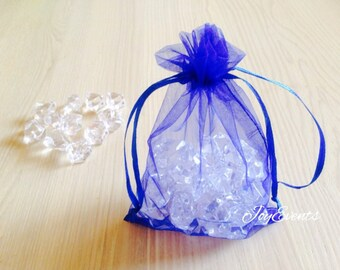 Royal Blue Organza Pouch Bags with Drawstring - Wedding Party Favour Candle Soap Bag - Baby Shower Christmas Gift Bag - Fragrance Sachet