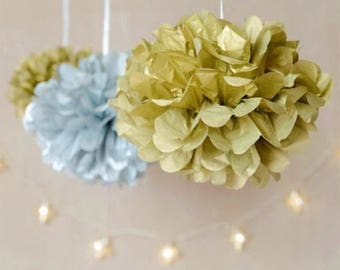 Metallic Gold Silver Tissue Paper Pom Pom Hanging Decoration - Wedding Baby Shower Party Engagement Bridal Shower Housewarming Christmas