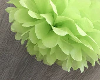 6x Lime Green Tissue Paper Pom Poms Birthday Tea Party Wedding Bridal Shower Baby Shower Candy Bar Backdrops Decorations