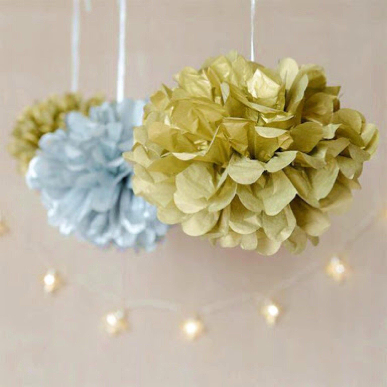 Metallic Gold Silver Tissue Paper Pom Pom Hanging Decoration