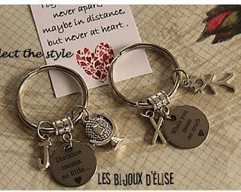 Set of 2 Personalized Distance Means So Little When You Mean So Much Couple Keychain Long Distance Relationship (KC24) - Select the Style