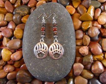 Mahogany Obsidian Bear Paw Earrings - Bear Claw, Bear Claw Earrings, Bear Paw, Bear Paw Earrings, Bear, Bear Earrings, Wildlife Jewelry