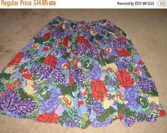 50% OFF Size 2X  plus size vintage floral cotton skirt 34 inch waist 36 inch length