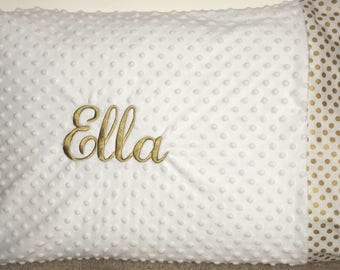 Monogrammed White Minky Dot Standard Pillowcase with Metallic Gold Polka Dot fabric trim