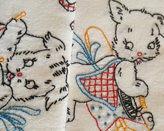 Vintage Embroidery Days of the Week Dish Tea Towels Kitsch Decor