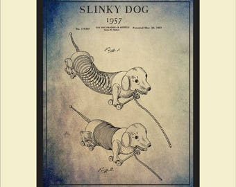 Patent dogs etsy vintage slinky dog toy patent print wall art vintage toy slinky dog blueprint art malvernweather Gallery