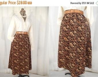 Vintage 1970s Skirt - 70s Midi Brown Floral Velvet Skirt, Small 70s Skirt, High Waist A line Boho Skirt, Fall Autumn Skirt