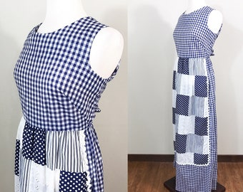1960s Vintage Dress / Cotton / Maxi Dress / Blue and White Gingham / Patchwork