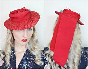 Vintage 1930s Hat / Tilt Hat / Red / Straw / Long Ribbons / Cute