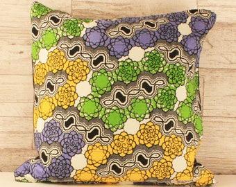 Block Print Throw Cushion - White & Pastels