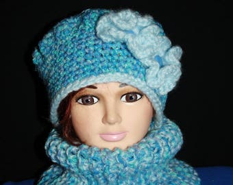 closed collar and Heather Blue Hat set
