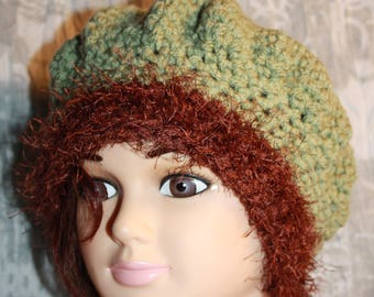 Hat green and Brown acrylic and fancy wire