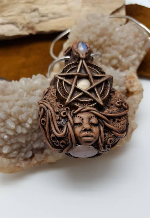 Crescent moon goddess pentacle talisman Amulet wearable wand moon stone  clay crystal necklace Sam Art  Alignment power witch Wicca spell