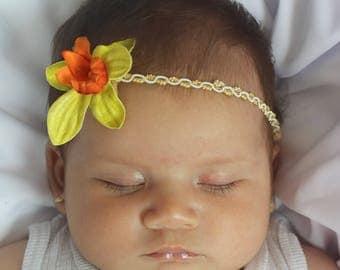 Infant Headband, Orange Headband, Gold Headpiece, Flower Headband, Gold Headband, Flower Headpiece, Toddler Headband, Newborn Headband