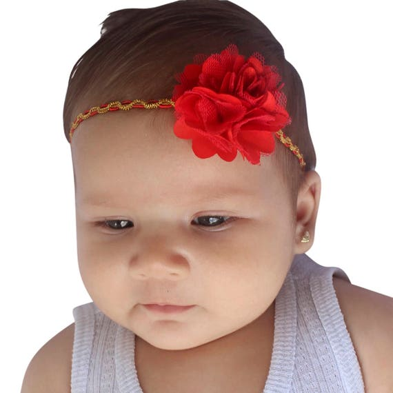 Red Baby Headband, Red Headband, Baby Headband, Flower Headband, Braided Headband, Newborn Headband, Baby Red Headband, Baby Flower