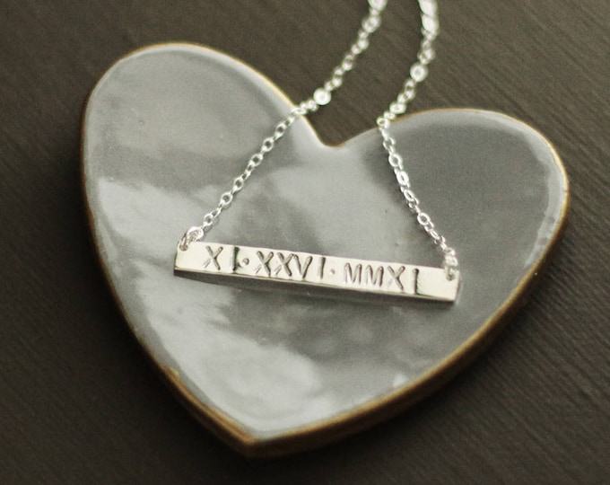 Roman Numeral Skinny Bar Necklace - Wedding Date Necklace Name Necklace - Sterling Silver or Gold Fill