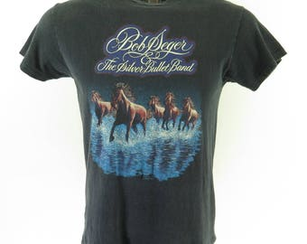Vintage 80s Bob Seger T-Shirt Mens L Silver Bullet Band Tour Against the World [H77H_0-6]