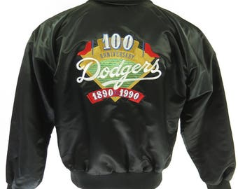 Vintage 90s Los Angeles Dodgers Jacket Mens M MacMurray 100 Anniversary Baseball [H99K_1-5_Puffy]