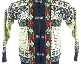 Vintage 90s Dale of Norway Setesdal Sweater Jacket Men XS Norwegian Pewter Clasp [I11Q_1-11_Shelf]