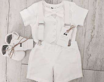 Baby boy summer Baptism outfit with White vest onesie and matching white/blue or grey bow tie and shorts