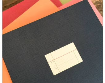Large Dark Navy Notebook with Ledger Style Lined Paper Sheets