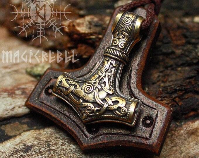 Bronze Thor's Hammer Mjolnir Vikings Amulet Nordic 3D Pendant Leather Necklace BM1