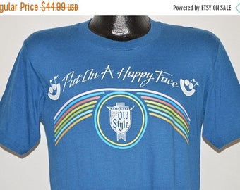 ON SALE 80s Old Style Beer Rainbow t-shirt Small
