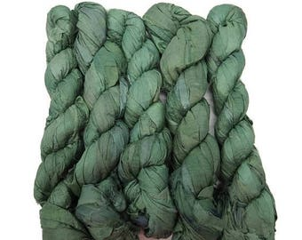 SALE New! Recycled Sari Silk Ribbon, 100g skeins , Ivy