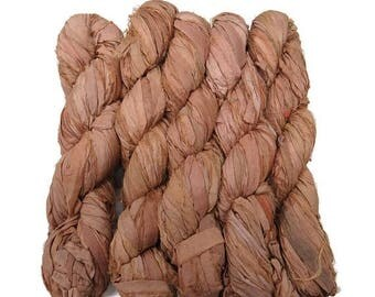 SALE New! Recycled Sari Silk Ribbon, color: Peach