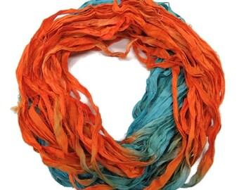 SALE New! Sari Silk Ribbon, 100g ,Turquoise Blue / Orange