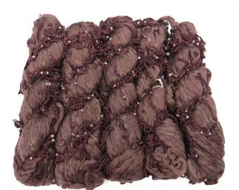SALE Handspun Acrylic lace and pearl Art yarn, Oxblood
