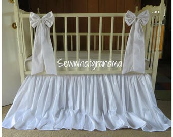 White Faux Silk Crib Dust Ruffled, White Farmhouse Nursery, Princess Baby Bedding, Crib Bows, Decor Bows, Large Accent Bows