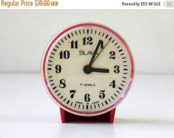 ON SALE SLAVA - Vintage Mechanical Alarm Clock - from Russia / Soviet Union / Ussr