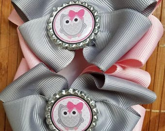 Gray and pink owl hair clips