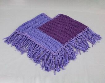 Baby and toddler BoHo poncho Fringed poncho Lavender / purple crocheted poncho