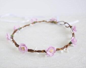 Lilac Cherry Blossom Flower Crown, bridal flower crown, spring wedding, rustic flower crown, lilac flower crown, flowergirl crown - BLOSSOM