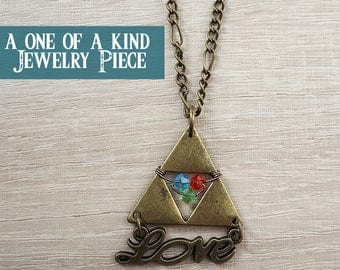 legend of zelda triforce spiritual stone charm necklace, one of a kind zelda kokiri emerald goron ruby zora sapphire necklace, triforce love