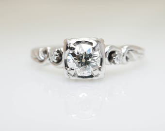 SALE - Vintage .54CTW Old European Cut Natural Diamond Engagement Ring 18k White Gold