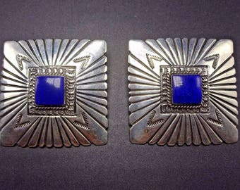 Signed Vintage NAVAJO Hand Stamped Square Sterling Silver & LAPIS EARRINGS