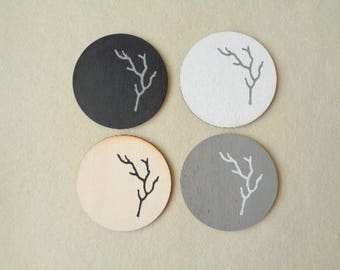 Coasters Set, Wooden Coasters, Handpainted Wooden Coasters