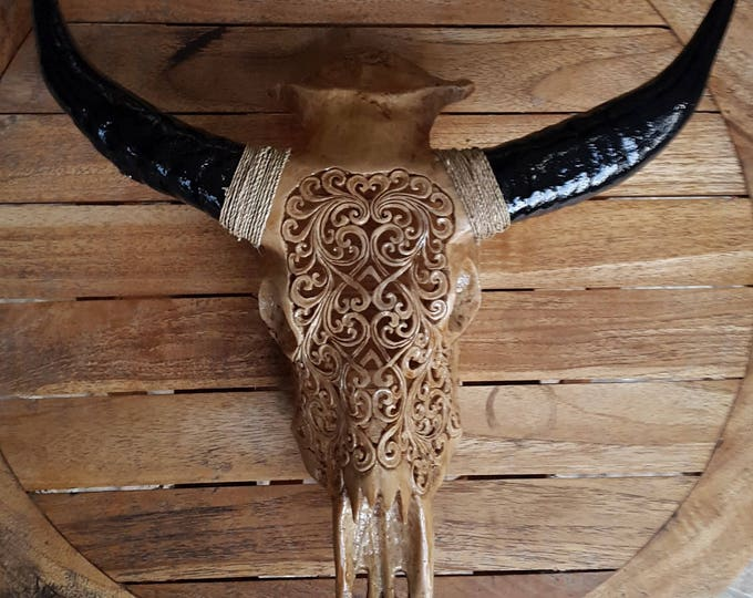 Medium Faux Hand Carved Tribal Buffalo Skulls Made of Resin / only front part