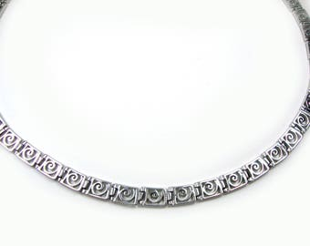 Silver Greek Necklace, Sterling Silver 925 Ancient Greek Spiral Key, Griechisce Halskette - Grecque Collier 45 cm 17.55 inches
