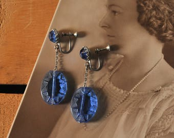 Art Deco Blue Glass Earrings