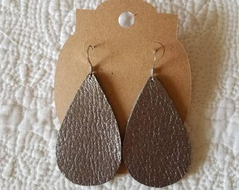 Genuine Leather Teardrop Earrings in Metallic Gunmetal