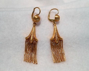 Vintage 18K Corn Blossom Tassel Leverback Earrings, c. 1950