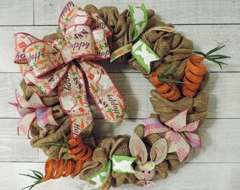 Easter Bunny Carrot Burlap Wreath
