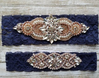 Sale -Wedding Garter and Toss Garter-Crystal Rhinestone with Rose Gold Details - Navy Blue Garter Set - Style G20961RG